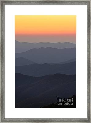 Great Smokie Mountains At Sunset Framed Print