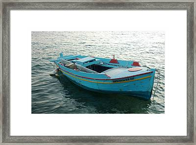 Framed Print featuring the photograph Greek Fishing Boat by Therese Alcorn