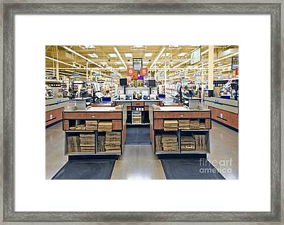 Grocery Store Checkout Counters Framed Print by David Buffington