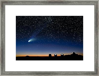 Hale Bopp And Observatories, Hawaii Framed Print