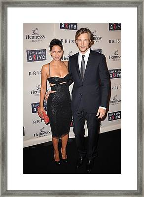 Halle Berry, Gabriel Aubry At Arrivals Framed Print
