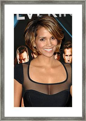 Halle Berry Wearing A Herve Leroux Framed Print