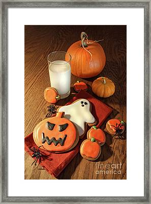 Halloween Cookies With A Glass Of Milk Framed Print by Sandra Cunningham
