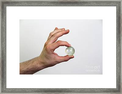 Hand Holding Marble Framed Print by Photo Researchers, Inc.