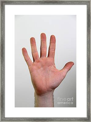 Hand Signing Number Five Framed Print by Photo Researchers, Inc.
