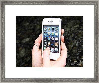 Hands Holding An Iphone Framed Print