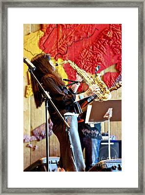 Harjo On Sax Framed Print by James Knights