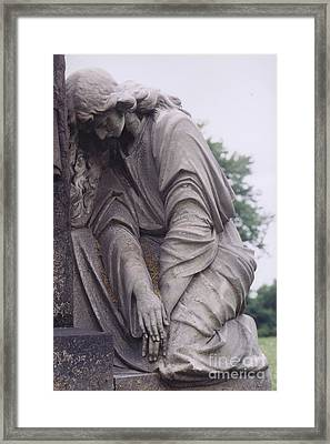 Haunting Cemetery Female Mourner On Grave Framed Print by Kathy Fornal