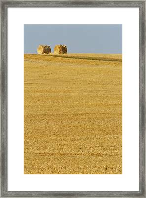 Hay Bales, Holland, Manitoba Framed Print by Mike Grandmailson