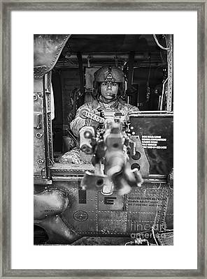Hdr Image Of A Uh-60 Black Hawk Door Framed Print