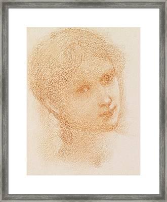 Head Study Of A Girl Framed Print by Sir Edward Burne-Jones
