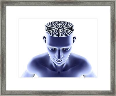 Head With Maze Framed Print by Pasieka