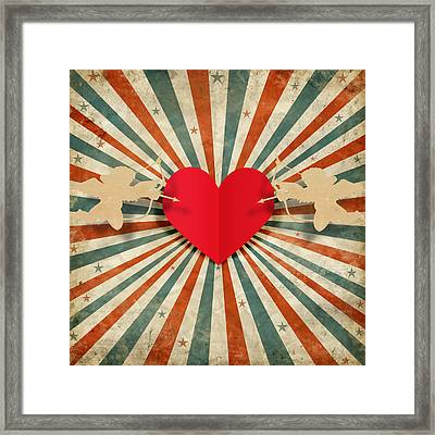 Heart And Cupid With Ray Background Framed Print by Setsiri Silapasuwanchai