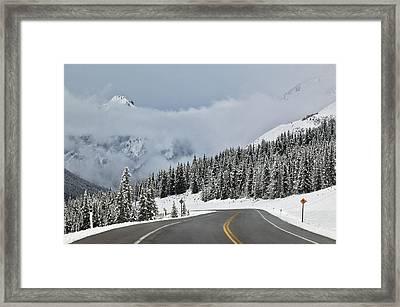 Highway 40 In Winter, Highwood Pass Framed Print by Darwin Wiggett