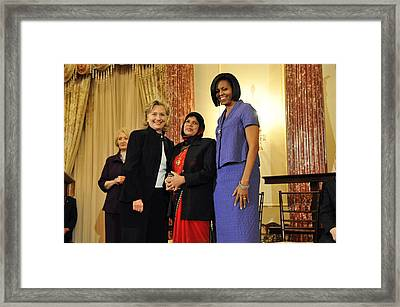 Hillary Clinton And Michelle Obama Framed Print