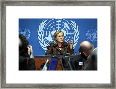 Hillary Clinton Speaking To The Press Framed Print by Everett