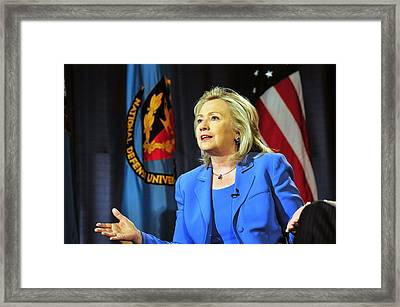 Hillary Clinton, Us Secretary Of State Framed Print by Everett