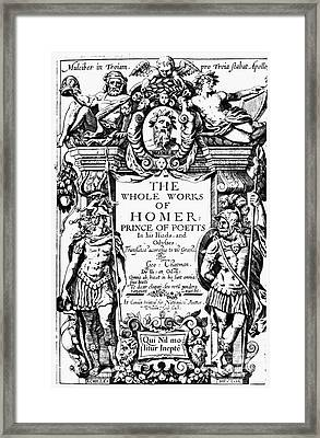 Homer Title Page, 1616 Framed Print by Granger