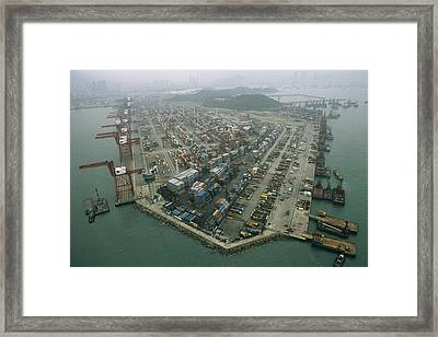 Hong Kong Cargo Terminal, One Framed Print by Justin Guariglia