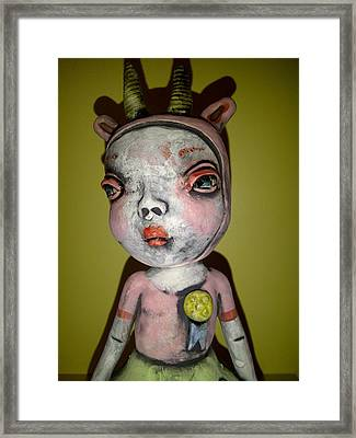 Horned Girl Cool Framed Print by Kathleen Raven