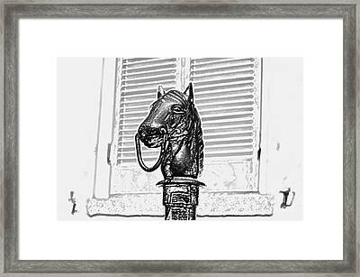 Horse Head Hitching Post Macro French Quarter New Orleans Black And White Colored Pencil Digital Art Framed Print