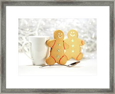 Hot Holiday Drink With Gingerbread Cookies  Framed Print by Sandra Cunningham