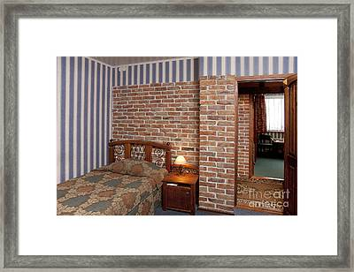 Hotel Bedroom Interior With Brick Walls Framed Print by Jaak Nilson