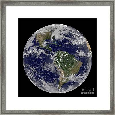 Hurricane Sandy Along The East Coast Framed Print