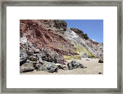 Hydrothermally Altered Red And Yellow Framed Print by Richard Roscoe