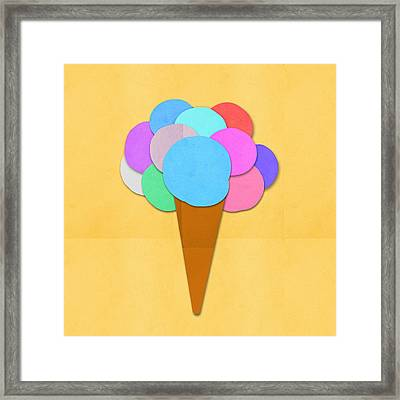 Ice Cream On Hand Made Paper Framed Print by Setsiri Silapasuwanchai
