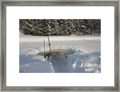 Ice Hole In The Countryside Framed Print by Jaak Nilson
