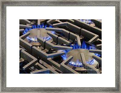 Ignited Gas Burning On Commercial Stove Framed Print by Jeremy Woodhouse