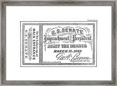 Impeachment Ticket, 1868 Framed Print by Photo Researchers