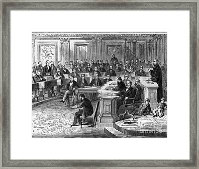 Impeachment Vote Framed Print by Photo Researchers
