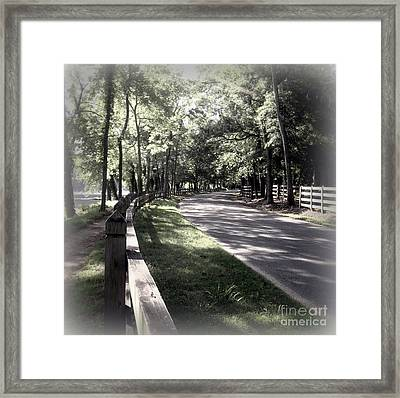 In My Dream The Road Less Traveled Framed Print by Nancy Dole McGuigan