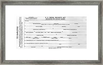 Initiation Of Social Security In 1936 Framed Print