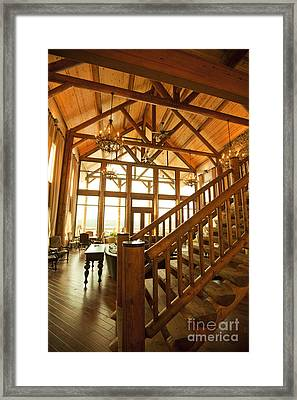 Interior Of Large Wooden Lodge Framed Print by Will and Deni McIntyre