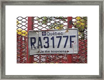 Je Me Souviens Framed Print
