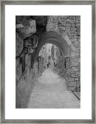 Jerusalem Old Street Framed Print by Marwan Hasna - Art Beat