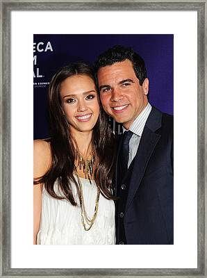 Jessica Alba, Cash Warren At Arrivals Framed Print by Everett