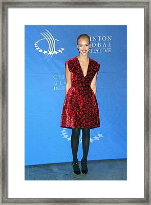 Jessica Alba Wearing A Prada Dress Framed Print