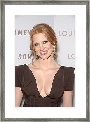 Jessica Chastain At Arrivals Framed Print