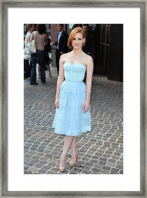 Jessica Chastain Wearing A Christian Framed Print