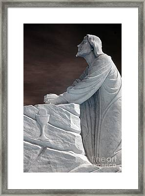 Jesus Kneeling - Religious Christian Art Framed Print by Kathy Fornal