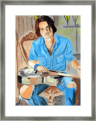 Framed Print featuring the painting Johnny Depp 2 by Audrey Pollitt