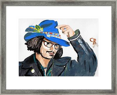 Framed Print featuring the painting Johnny Depp 3 by Audrey Pollitt