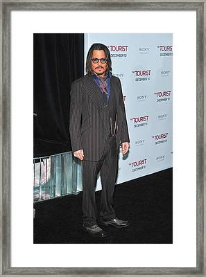 Johnny Depp At Arrivals For The Tourist Framed Print by Everett