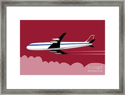 Jumbo Jet Plane Retro Framed Print by Aloysius Patrimonio