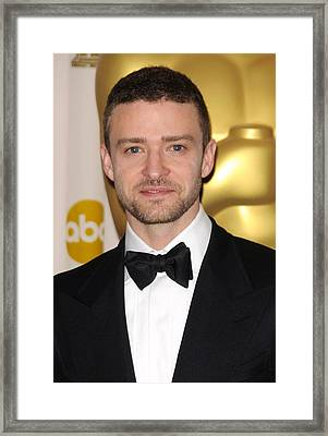 Justin Timberlake In The Press Room Framed Print by Everett