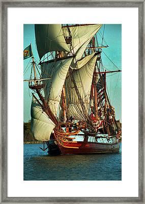 Kalmar Nyckel Under Sail Framed Print by Skip Willits